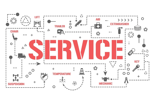 Service woord concepten banner. computer technische diagnostiek auto. auto-infographics repareren. presentatie, website. ui ux-idee. geïsoleerde belettering typografie met glyph-pictogrammen. platte vectorillustratie
