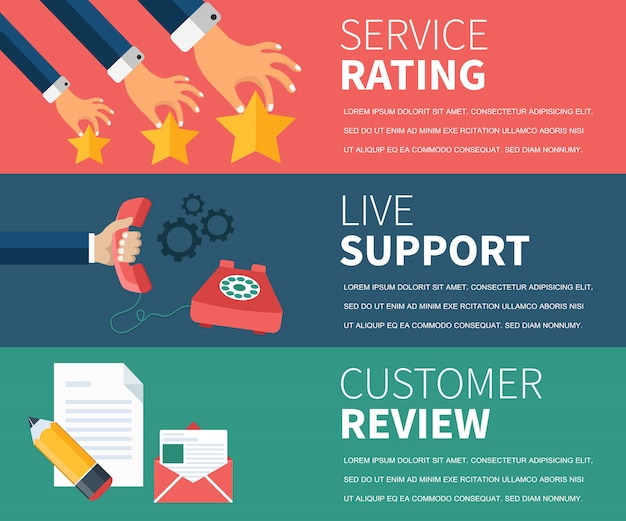 Serviceclassificatie, live-ondersteuning, banner met klantenreviews