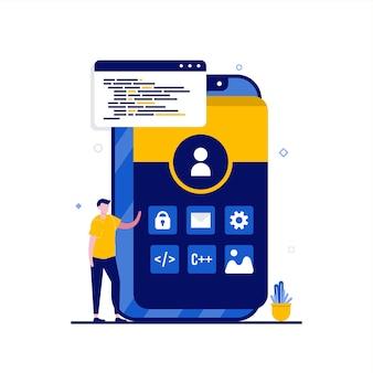 Serviceconcept voor applicatieontwikkeling met karakter. mensen staan in de buurt van smartphone met pictogram van mobiele app. moderne vlakke stijl voor bestemmingspagina, mobiele app, webbanner, infographics, heldenafbeeldingen.