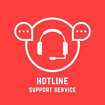 Servicemerk voor hotline-ondersteuning. concept van vraag hulplijn, sociaal netwerk, feedback, verkoop, webinar, chatantwoord, technicuservaring. vlakke stijl trend modern design vectorillustratie op rode achtergrond
