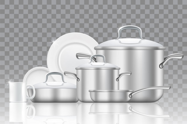 Servies en kookgerei realistische icon set