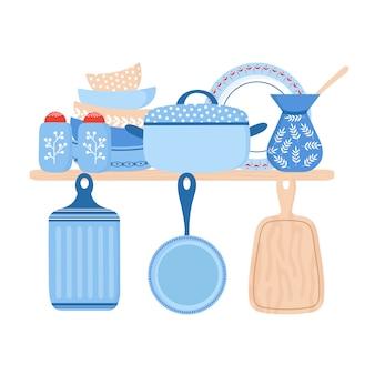 Servies keramiek kookgerei. blauwe porseleinen borden, pannen en kommen illustratie