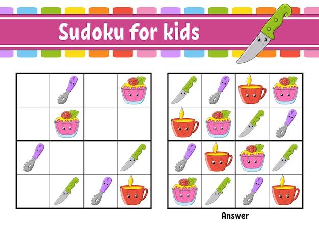 Serviesthema sudoku voor kinderen werkblad voor onderwijsontwikkeling