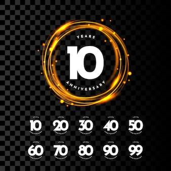 Set 10 20 30 tot 99 jaar verjaardag labelsjabloonontwerp