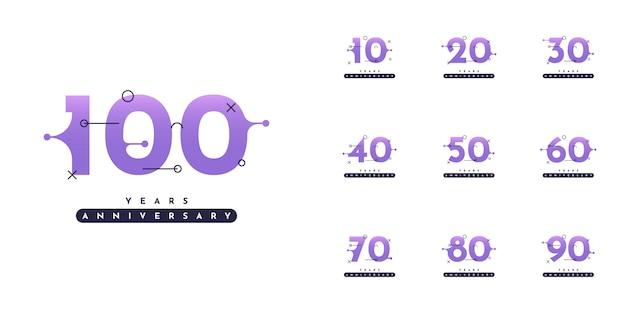 Set 10 tot 100 jaar verjaardag ontwerp