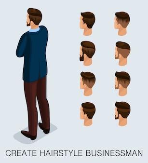 Set 2 trendy isometrische 3d-zakenman