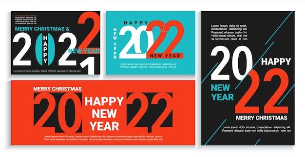Set 2022 nieuwjaar banners, flyers, kaarten, posters in zwart, rood, blauw. moderne brochures, uitnodigingen en wenskaarten, folders, headers, zakelijke agenda's, kalender cover met nummers voor 22 jaar.