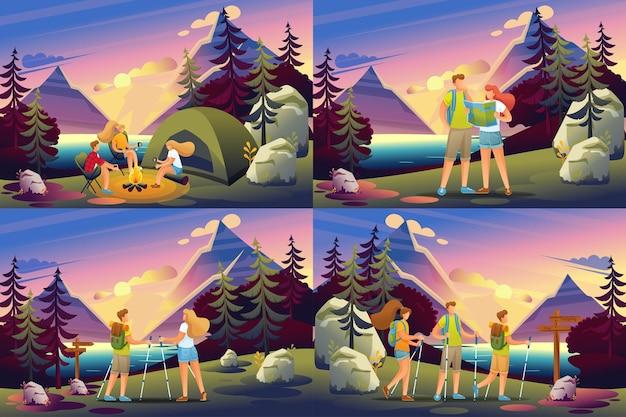 Set 2d flat-concepten van actieve recreatie van mensen in het bos, kamperen