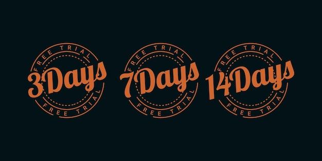 Set 3 dagen 7 dagen en 14 dagen gratis proefillustratie sjabloonontwerp