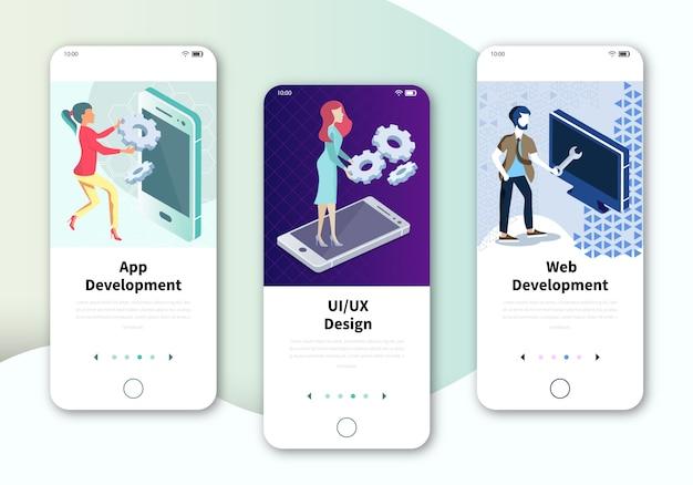 Set aan boordschermen gebruikersinterfaceset voor web- en app-ontwikkeling