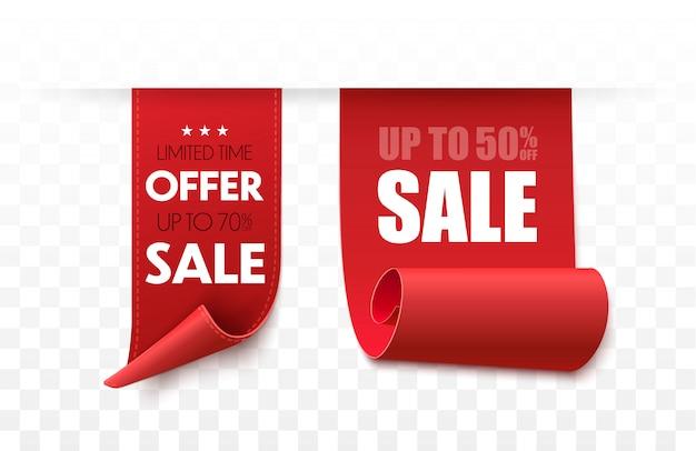 Set aanbieding-tag. vector rood lint geïsoleerd. verkoop banner