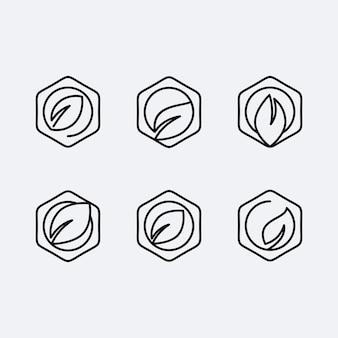 Set abstract logo blad met veelhoekige