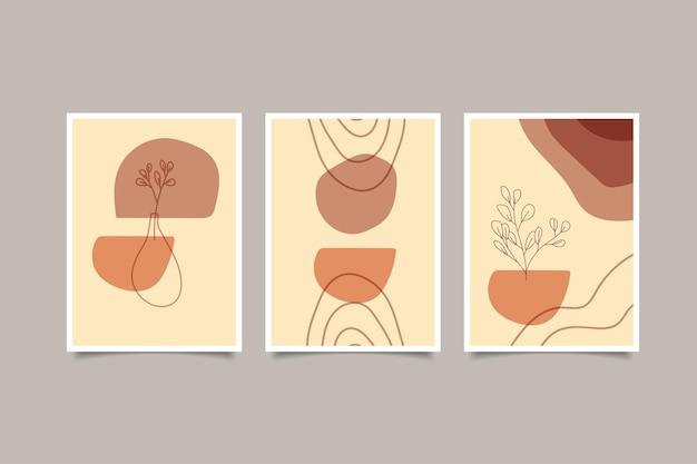 Set abstracte boho hedendaagse kunst aan de muur
