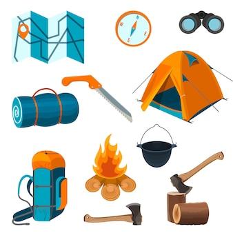 Set accessoires voor camping rust en wandelactiviteiten geïsoleerd op een witte achtergrond. elementen voor picknick op frisse lucht vectorillustratie