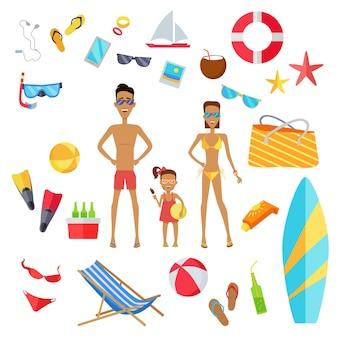 Set accessoires voor de zomervakantie