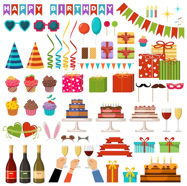 Set accessoires voor gelukkige verjaardagspartij