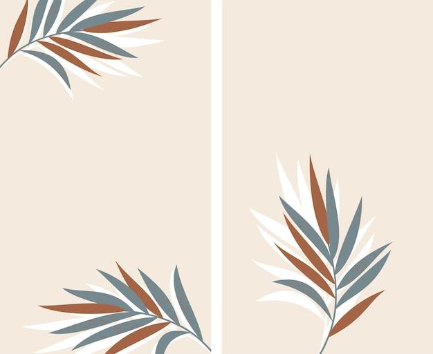 Set achtergronden met palmbladeren