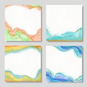 Set achtergronden met vector hand getrokken aquarel blots.