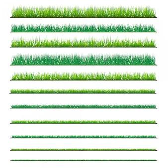 Set achtergronden van groen gras, geïsoleerd op een witte achtergrond.