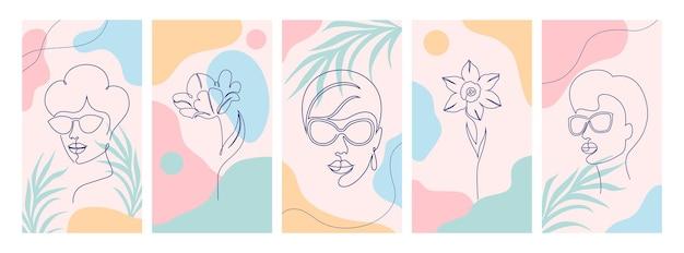 Set achtergronden voor verhalen op sociale media, posters. minimalistisch vrouwengezicht en bloem.
