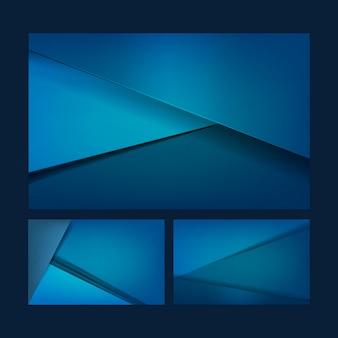Set achtergrondontwerpen in blauw