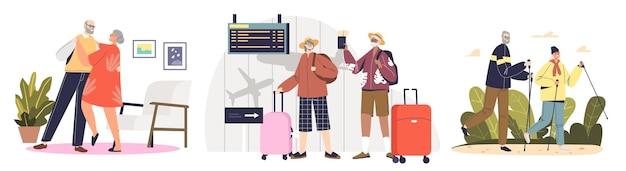 Set actieve senior koppels: reizen met vliegtuig op vakantie, dansen, nordic walking en wandelen in de natuur. vrijetijdsactiviteiten entertainment voor ouderen. cartoon platte vectorillustratie