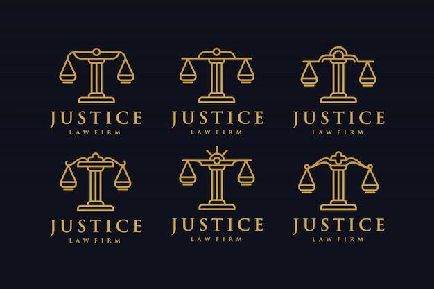 Set advocatenkantoor gouden versie logo ontwerp inspiratie