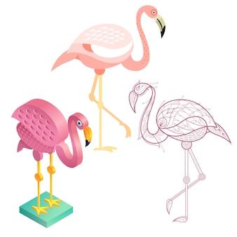Set afbeelding van flamingo's in verschillende stijlen.