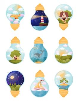 Set afbeeldingen in de lamp. illustratie