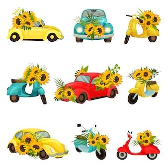 Set afbeeldingen van bromfietsen en auto's model kever.