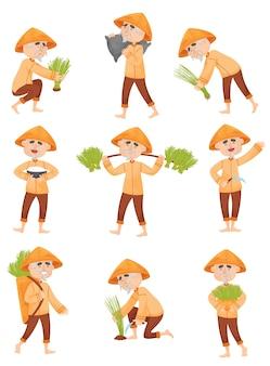 Set afbeeldingen van een man in oranje kleren die rijst verzamelt