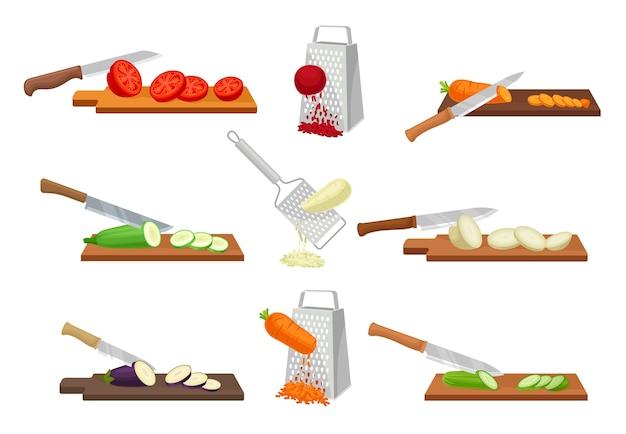 Set afbeeldingen van het snijden van groenten