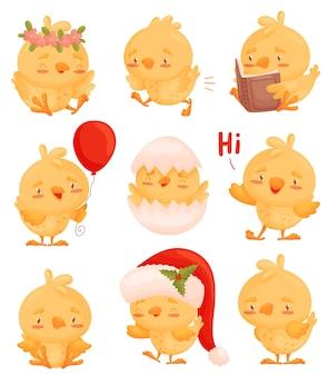 Set afbeeldingen van kippen met verschillende objecten in hun handen