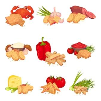 Set afbeeldingen van plakjes croutons met verschillende producten. peper, krab, knoflook, salami, champignons, kaas, tomaat.