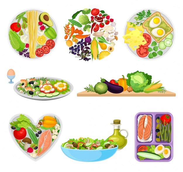 Set afbeeldingen van platen met verschillende voedingsmiddelen.