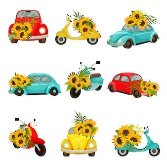 Set afbeeldingen van retro bromfietsen en auto's.