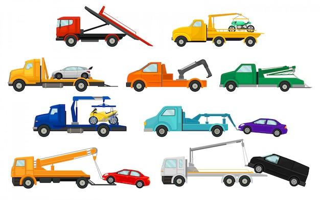 Set afbeeldingen van sleepwagens.