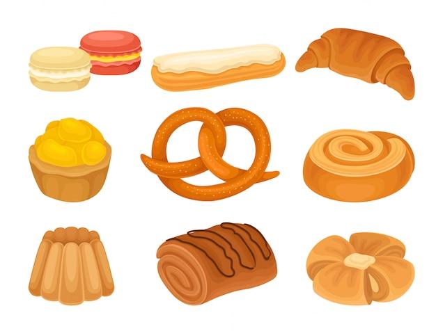 Set afbeeldingen van verschillende bakkerijproducten. krater, koekjes, brood.