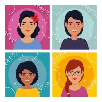 Set afbeeldingen van vrouwen avatar karakter