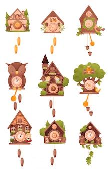 Set afbeeldingen van wandklokken in de vorm van huizen. vector illustratie