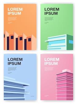 Set affiches. achtergronden met abstracte architectuur. verticale plakkaat met plaats voor tekst. kleurrijke vectorillustratie.