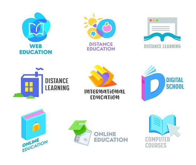 Set afstandsonderwijs banners of pictogrammen. online onderwijscursussen, thuisonderwijsconcept.