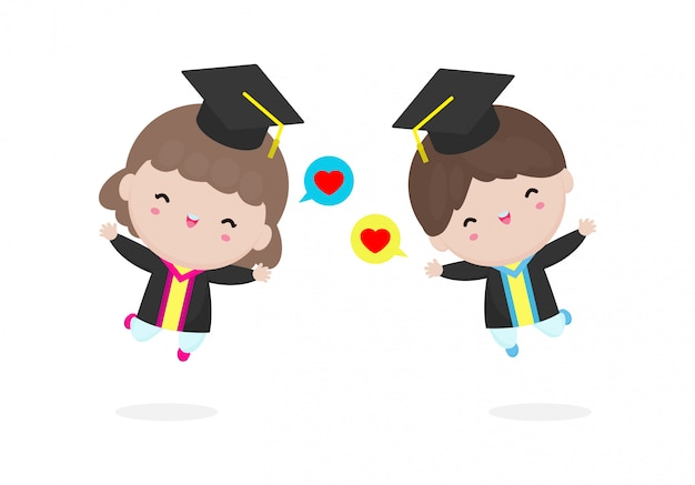 Set afstuderen kinderen, gelukkig kind afgestudeerden, gelukkige kinderen springen, afgestudeerden in jassen en met diploma, afstuderen van studenten, illustratie