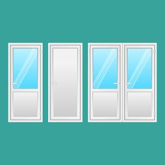 Set aluminium deuren. voordeuren naar huizen en gebouwen in vlakke stijl geïsoleerd. binnendeur, tussendeur met raam. soorten elegante deuren van licht sterk metaal. illustratie.