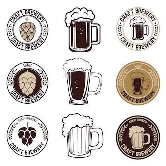 Set ambachtelijke bieretiketten