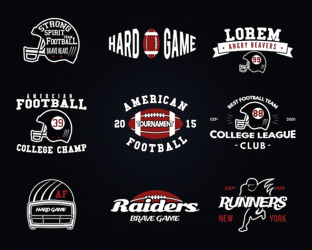 Set american football, college league labels, logo's, insignes, insignes, pictogrammen in vintage stijl. grafische vormgeving