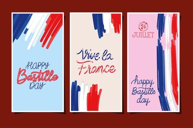 Set ansichtkaarten van de onafhankelijkheid van frankrijk