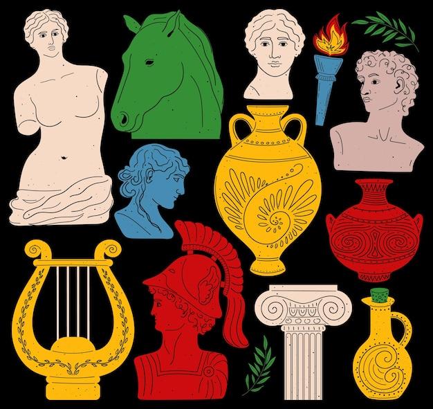 Set antieke beelden en sculpturen aphrodite venus portret antieke griekse beeldhouwkunst set