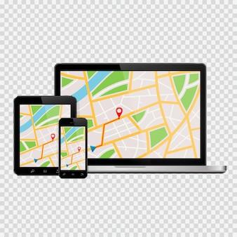 Set apparaten met gps-kaart op het scherm