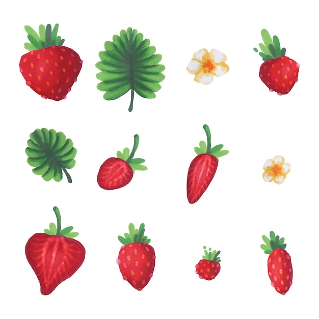 Set aquarel aardbeien